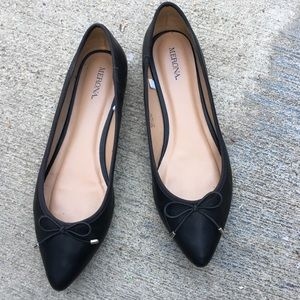 target merona black bowtie point flats